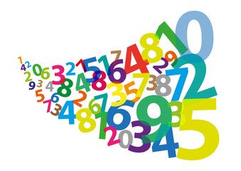 Stylized Arabic Numerals as if Blown Away