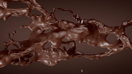 Splash of Chocolate. Slow motion.With mask.