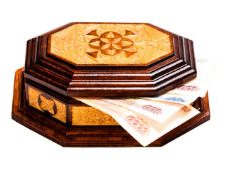 money in a closed casket.