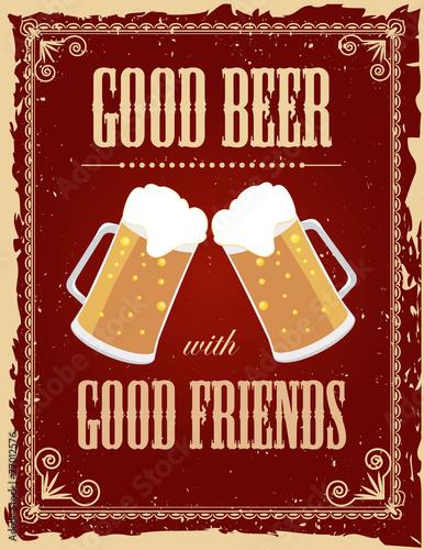 Canvas Vintage Poster Vintage beer poster