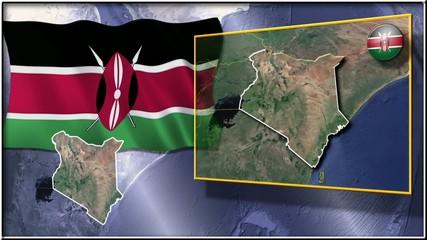 Kenya flag and map animation