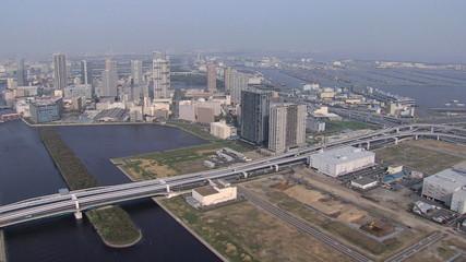 Aerial Tokyo  Bay Expressways Japan Asia