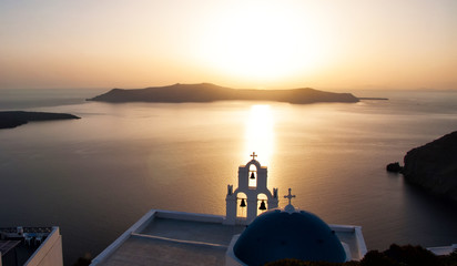 Sunset over the Aegean Sea, Oia, Santorini, Greece
