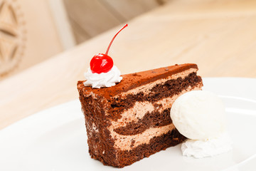 chocolate cake with ice cream