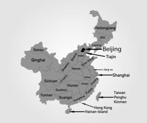 Landkarte von China mit Provinzen in grau
