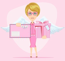 The girl-angel congratulates, gives invitation letter and a gift