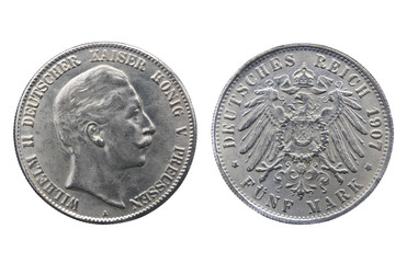 Old silver coin of German Reich isolated on white
