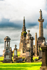 Glasgow Necropolis. Scottish ancient graveyard.