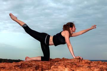 Yoga sur les rochers: posture de l'oiseau céleste