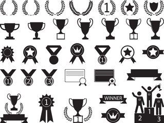Award symbols illustrated on white