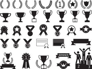 Award symbols illustrated on white