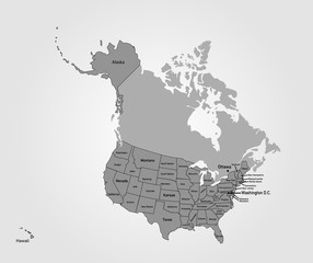 Landkarte USA mit Bundesstaaten in grau