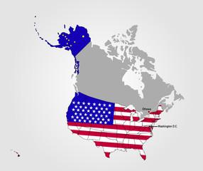 Landkarte der USA mit Landesflagge