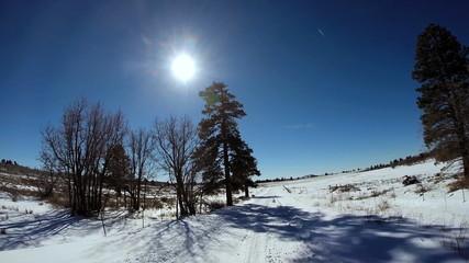 POV driving sun flare landscape  dry climate vehicle transport Zion National Park USA