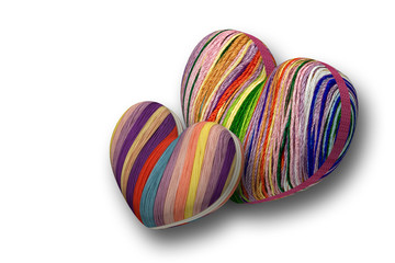 Сердечки объемные из ниток