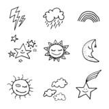 Fototapety Doodle style weather icons set