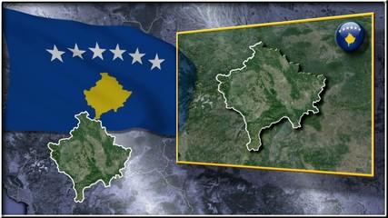 Kosovo flag and map animation