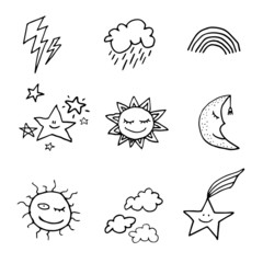 Doodle style weather icons set