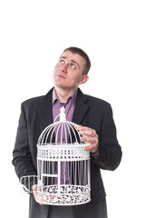 man with a cage for birds