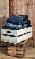 jeans over wooden background