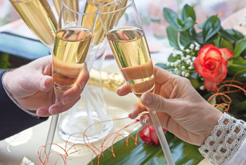 Romantic couple toast for Valentine day