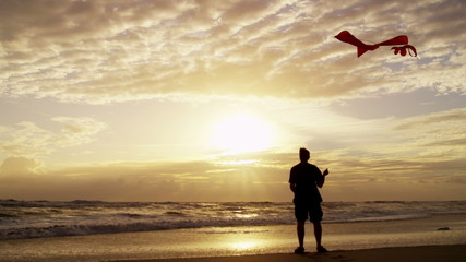 Sunset Silhouette Male Outdoors Beach Flying Toy Kite