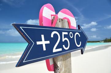 +25C arrow on the beach