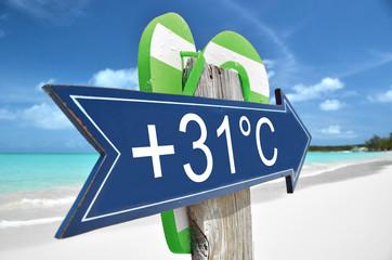 +31C arrow on the beach
