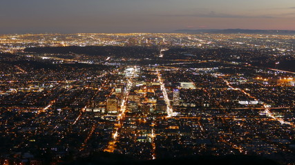 Glendale and Downtown Los Angeles Nightfall