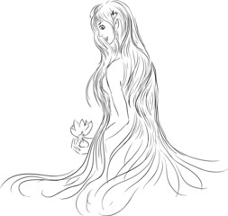 Beautiful girl with long hair and a water lily