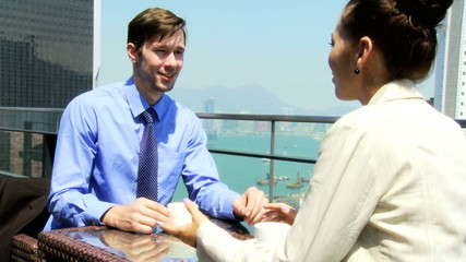 Young Caucasian Financial Consultant Colleagues Coffee Rooftop Restaurant