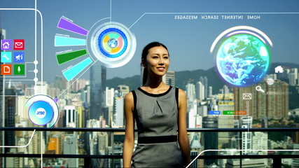 3D touch screen Asian business online banking Hong Kong app motion graphics