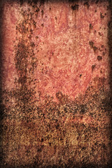 Old Badly Corroded Painted Metal Surface Vignette Grunge Texture