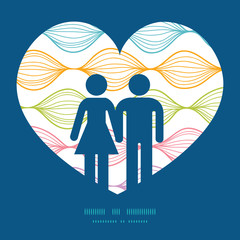 Vector colorful horizontal ogee couple in love silhouettes frame