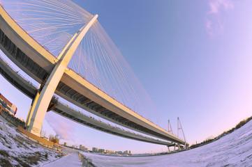 St. Petersburg, Russia, 6 January: Big Obukhovsky bridge (cable-