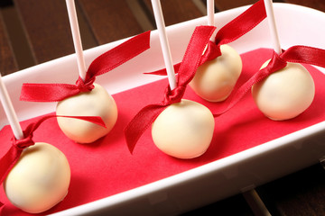 Homemade cake pops with white chocolate