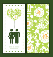 Vector green and golden garden silhouettes couple in love