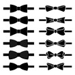 vector collection of black bow ties on white background - 77017308