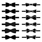 vector collection of black bow ties on white background