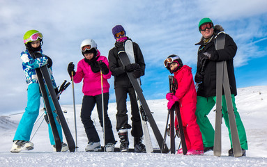 Family on the skiing