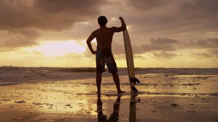 Silhouette Young Male Surfer Beach Sunset