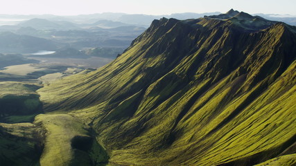 Aerial Central Highlands Iceland volcanic mountainous wilderness glacial