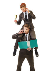 Business concept - work of manager and executor