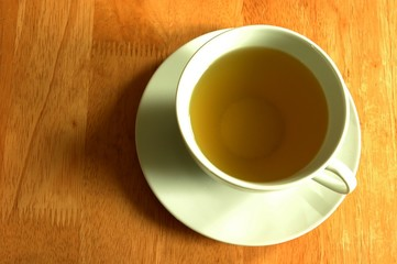 the cup of green tea.