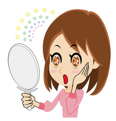 鏡を見て驚き喜ぶ若い女性