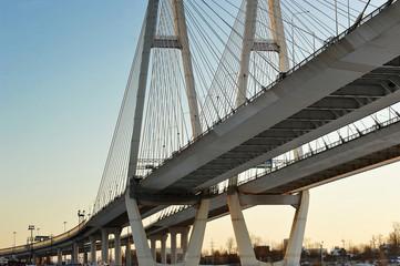 Big Obukhovsky bridge (cable-stayed) over the Neva river, St. Pe