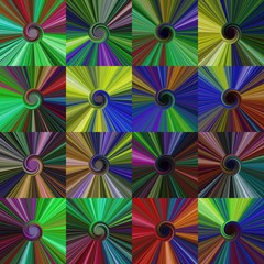 Set of colorful abstract spiral centralized dark backgrounds