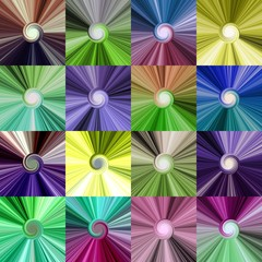 Set of colorful abstract spiral centralized bright backgrounds