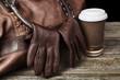 Traveller's brown leather bag - 77018791