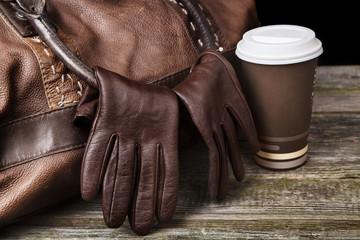 Traveller's brown leather bag